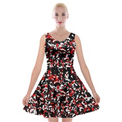 Patterntachesrougeblancnoir75 Velvet Skater Dress