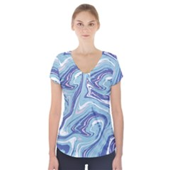 Blue Vivid Marble Pattern 9 Short Sleeve Front Detail Top by goljakoff