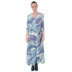 Blue Vivid Marble Pattern 9 Button Up Maxi Dress by goljakoff