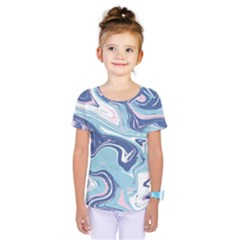 Blue Vivid Marble Pattern Kids  One Piece Tee