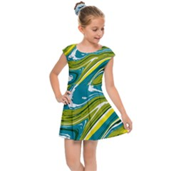 Green Vivid Marble Pattern Kids  Cap Sleeve Dress