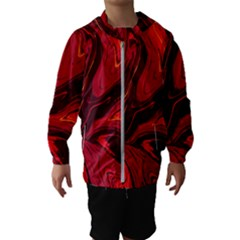Red Vivid Marble Pattern 15 Kids  Hooded Windbreaker by goljakoff