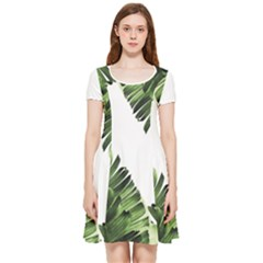 Green Banana Leaves Inside Out Cap Sleeve Dress by goljakoff