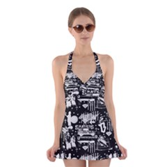 Skater-underground2 Halter Dress Swimsuit