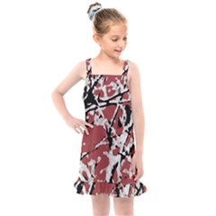Vibrant Abstract Textured Artwork Print Kids  Overall Dress