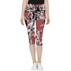 Vibrant Abstract Textured Artwork Print Inside Out Lightweight Velour Capri Leggings  by dflcprintsclothing