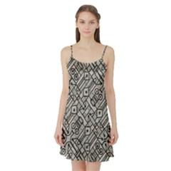 Tribal Geometric Grunge Print Satin Night Slip