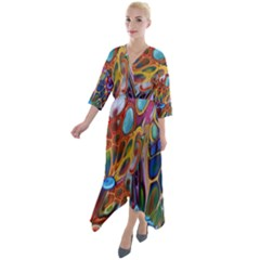Colored Summer Quarter Sleeve Wrap Front Maxi Dress