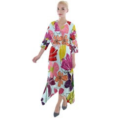 Flower Pattern Quarter Sleeve Wrap Front Maxi Dress by Galinka