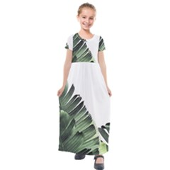 Banana Leaves Kids  Short Sleeve Maxi Dress by goljakoff