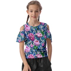 Pink Peonies Watercolor Kids  Butterfly Cutout Tee