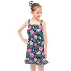 Delicate Watercolor Peony Kids  Overall Dress