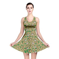 Florals In The Green Season In Perfect  Ornate Calm Harmony Reversible Skater Dress
