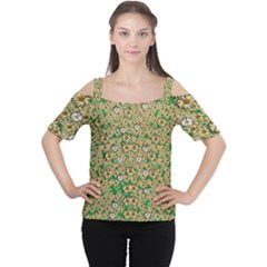 Florals In The Green Season In Perfect  Ornate Calm Harmony Cutout Shoulder Tee