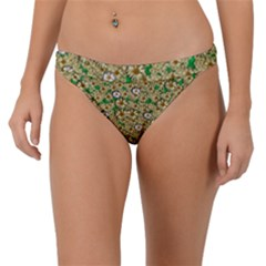 Florals In The Green Season In Perfect  Ornate Calm Harmony Band Bikini Bottom