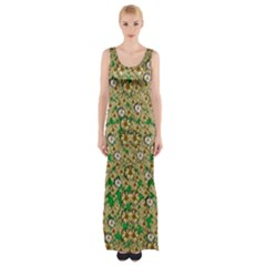 Florals In The Green Season In Perfect  Ornate Calm Harmony Thigh Split Maxi Dress