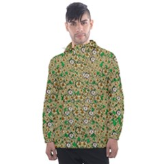 Florals In The Green Season In Perfect  Ornate Calm Harmony Men s Front Pocket Pullover Windbreaker