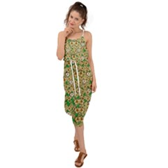 Florals In The Green Season In Perfect  Ornate Calm Harmony Waist Tie Cover Up Chiffon Dress