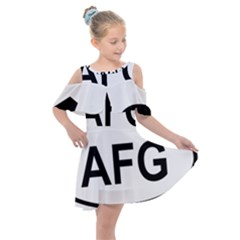 Afghanistan Afg Oval Sticker Kids  Shoulder Cutout Chiffon Dress