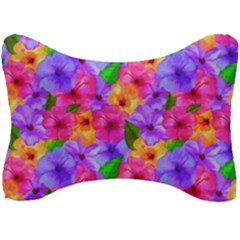 Watercolor Flowers  Multi-colored Bright Flowers Seat Head Rest Cushion