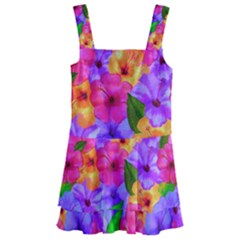 Watercolor Flowers  Multi-colored Bright Flowers Kids  Layered Skirt Swimsuit