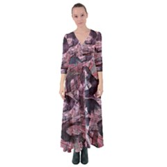 Abstract Marbling Button Up Maxi Dress
