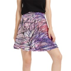Mixed Media Leaves Waistband Skirt