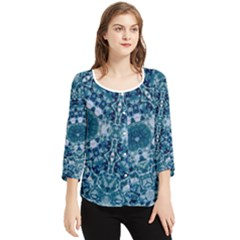 Blue Heavens Chiffon Quarter Sleeve Blouse