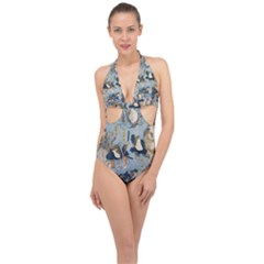 Famous Heroes Of The Kabuki Stage Played By Frogs  Halter Front Plunge Swimsuit by Sobalvarro