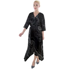 Black Topography Quarter Sleeve Wrap Front Maxi Dress by goljakoff