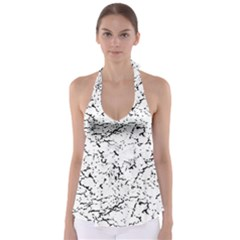 Black And White Grunge Abstract Print Babydoll Tankini Top