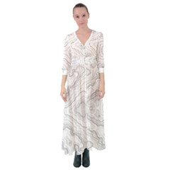 Topography Map Button Up Maxi Dress