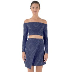 Blue Topography Off Shoulder Top With Skirt Set