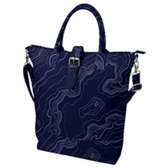 Topography Map Buckle Top Tote Bag