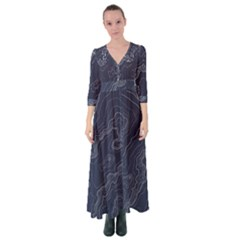 Topography Map Button Up Maxi Dress by goljakoff