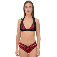 Red And Black Leopard Spots, Animal Fur Double Strap Halter Bikini Set