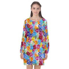 Pansies  Watercolor Flowers Long Sleeve Chiffon Shift Dress