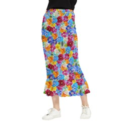 Pansies  Watercolor Flowers Maxi Fishtail Chiffon Skirt by SychEva