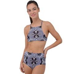Grey Layers Marbling High Waist Tankini Set