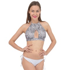 Silver Abstract Grunge Texture Print Cross Front Halter Bikini Top