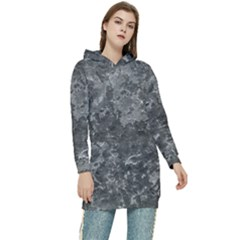 Dark Grey Abstract Grunge Texture Print Women s Long Oversized Pullover Hoodie