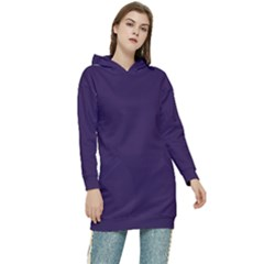 Color Russian Violet Women s Long Oversized Pullover Hoodie