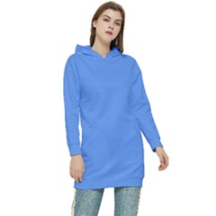 Color Cornflower Blue Women s Long Oversized Pullover Hoodie