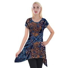 Fractal Galaxy Short Sleeve Side Drop Tunic