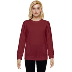 Color Blood Red Two Sleeve Tee With Pocket