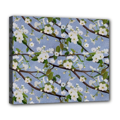 Pear Branch With Flowers Deluxe Canvas 24  X 20  (stretched)