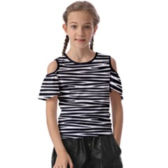 Zebra Stripes, Black And White Asymmetric Lines, Wildlife Pattern Kids  Butterfly Cutout Tee