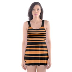 Tiger Stripes, Black And Orange, Asymmetric Lines, Wildlife Pattern Skater Dress Swimsuit