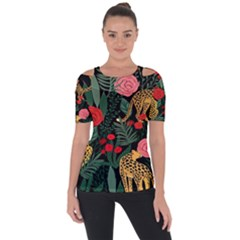 Leopardrose Shoulder Cut Out Short Sleeve Top
