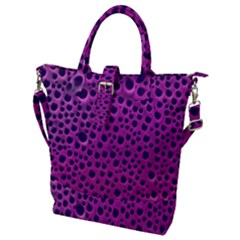 Purple Abstract Print Design Buckle Top Tote Bag